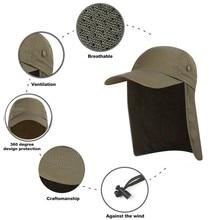 Gorra de pesca UPF 50 Unisex de secado rápido para exteriores, gorra visera para el sol, protección solar con solapa para la oreja y el cuello, nueva para senderismo