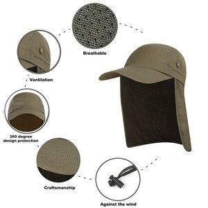 Image 1 - Outdoor UPF 50 Unisex Quick Dry Vissen Hoed Zonneklep Cap Hoed Bescherming Zon met Oor Nek Flap Cover voor wandelen nieuwe