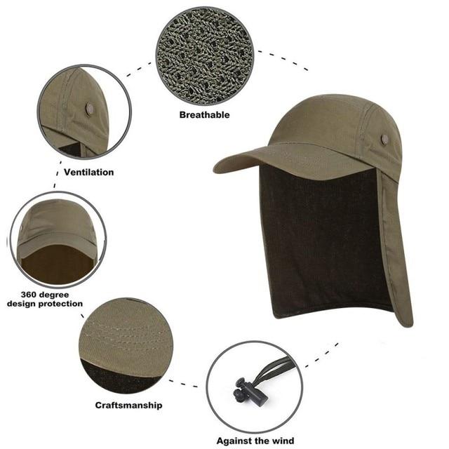 屋外 UPF 50 ユニセックス速乾性釣り帽子サンバイザーキャップ帽子太陽保護耳ネックフラップカバーハイキング新