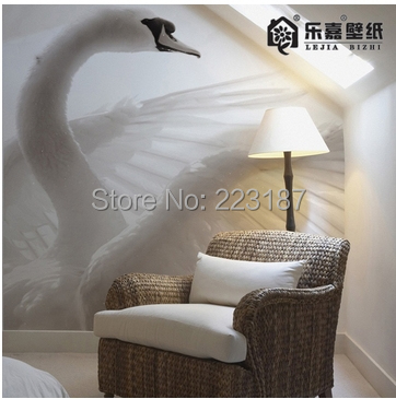 Hot Large murals custom dining room 3d wallpaper decorative photo Tv sofa cafe wall paper modern wall decor Chinese white swan the custom 3d murals the new york times center building street black and white living room sofa tv wall bedroom wall paper
