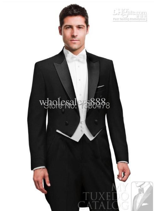 2016- Double-breasted Tailcoat Black Groom Tuxedos Best Man Peak Satin Lapel Groomsmen M ...