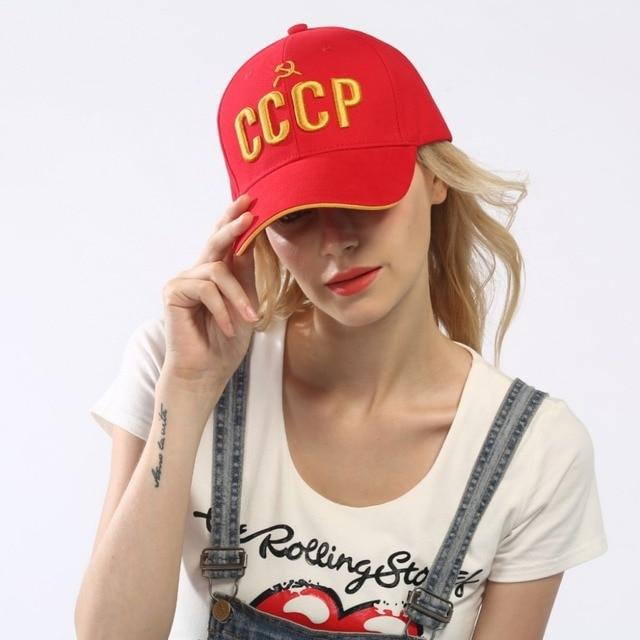 CCCP UDSSR Russische Heißer Verkauf Stil Baseballmütze Unisex Rote Kappe mit 3D stickerei Beste qualität Kappe in Aliexpress