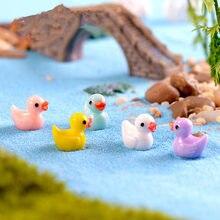 10 sztuk Mini żywica kaczka do dekoracji domu dla lalek