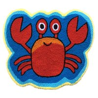 WINLIFE Cute Crab Rug Blue Handmade Bath Mat Animal Rugs For Kids Washable Non Skid Floor