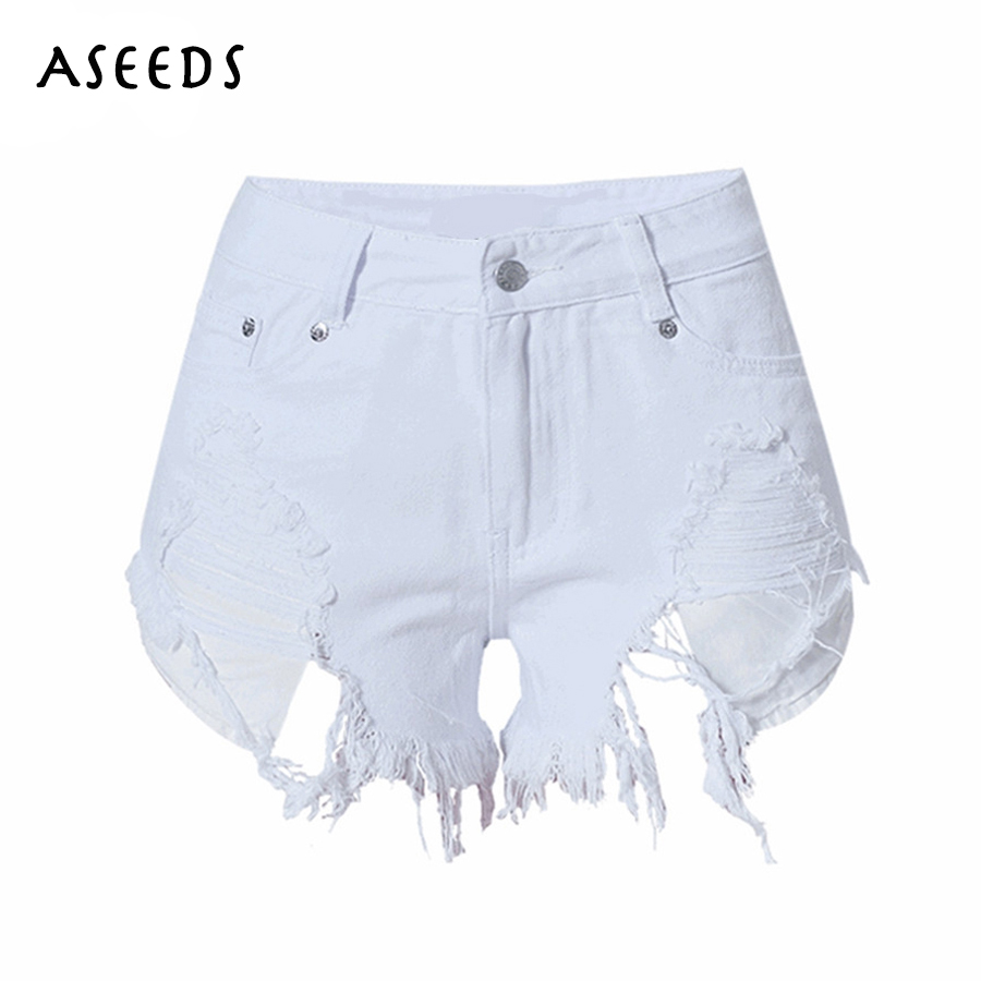 Womens Shorts Ripped Rave-Streetwear Sexy High-Waist Korean-Style Cotton Summer Casual