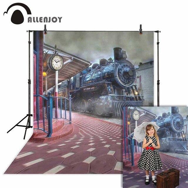Allenjoy darmowa wysyłka tła dla fotografii studio stary pociąg stacja miasto dym tło profesjonalny photocall