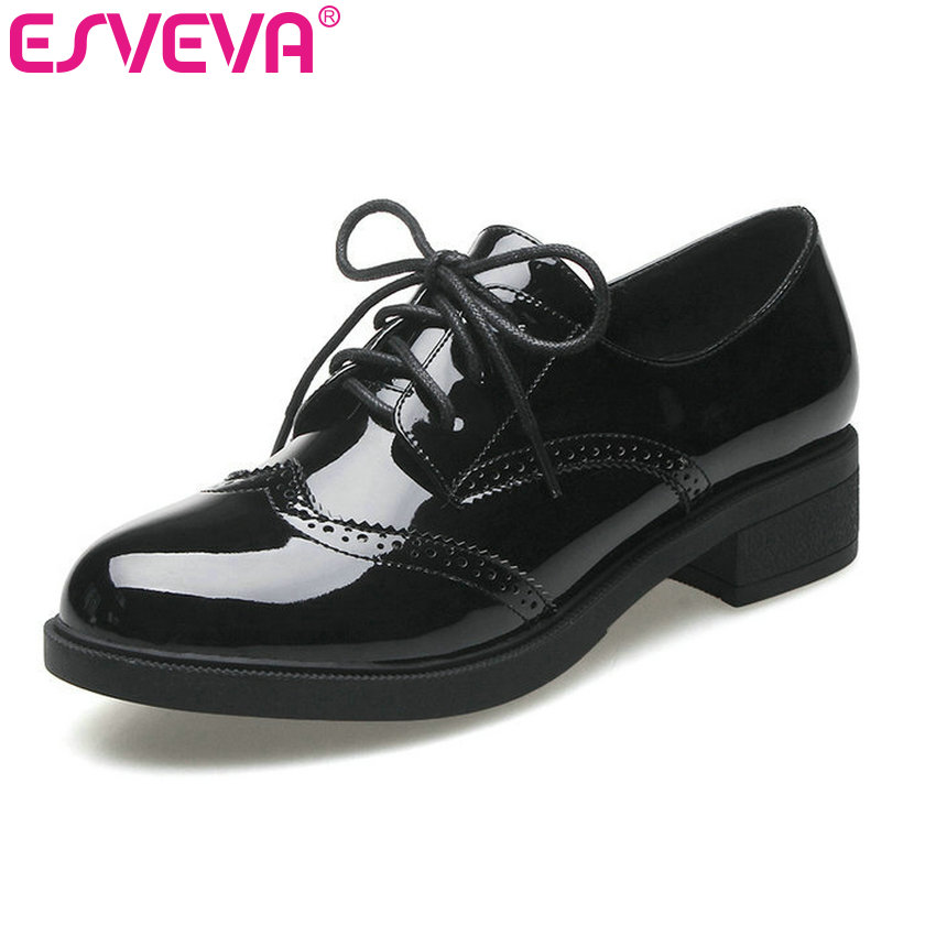 ESVEVA 2017 Black  Lace Up Oxfords Square Med Heel Women Pumps British Style Shoes Round Toe Party Women Pumps Size 34-40