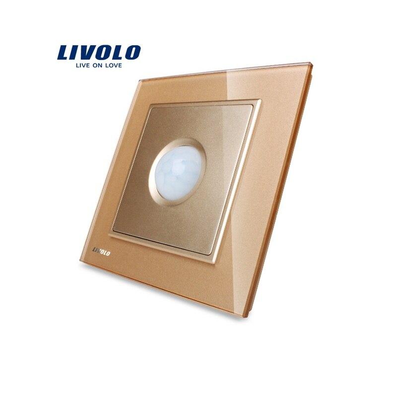 Livolo UK standard New Human Induction Switch, Golden Glass Panel, AC 110~250V Home Wall Light Switch VL-W291RG-13 livolo smart home wall switch 2gang 1way uk standard black glass panel touch light switch ac 220 250 v vl c302 62
