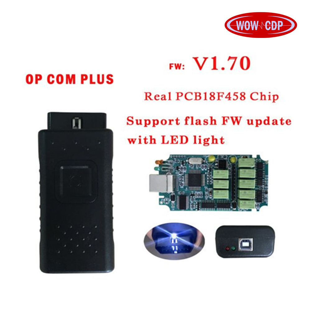 with real pic18f458 OPCOM plus firmware OP-COM For Opel Diagnostic-tool with led light can be flash update