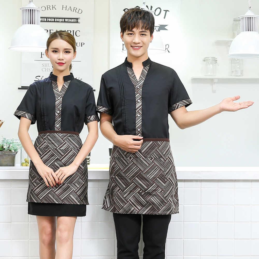 Тематические форма для официантов ресторана летние шорты с длинными рукавами в западном стиле ресторан отеля Cafe горячий горшок Еда Услуги официантка рубашка с треугольным вырезом