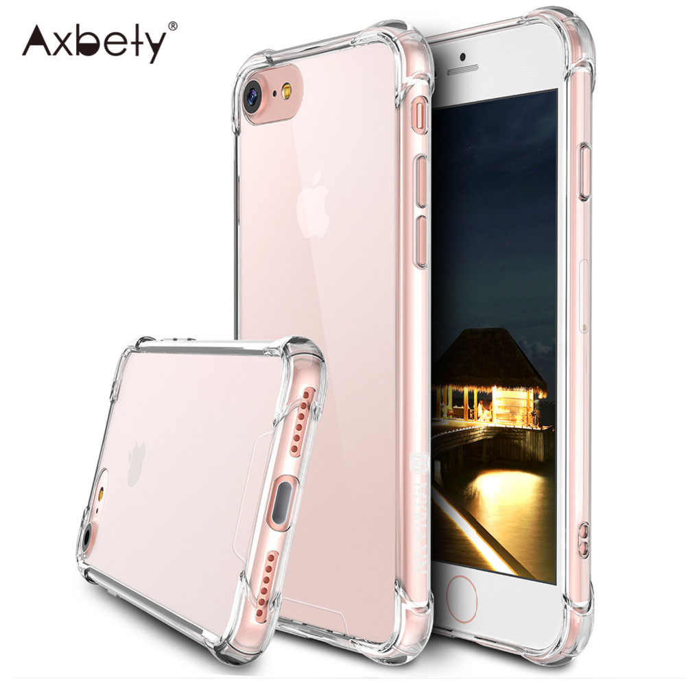 Axbety Coque untuk iPhone X Max Shockproof PC Clear Crystal Case For iPhone 7 7 Plus 6 S Plus/ XS MAX Transparan Hard