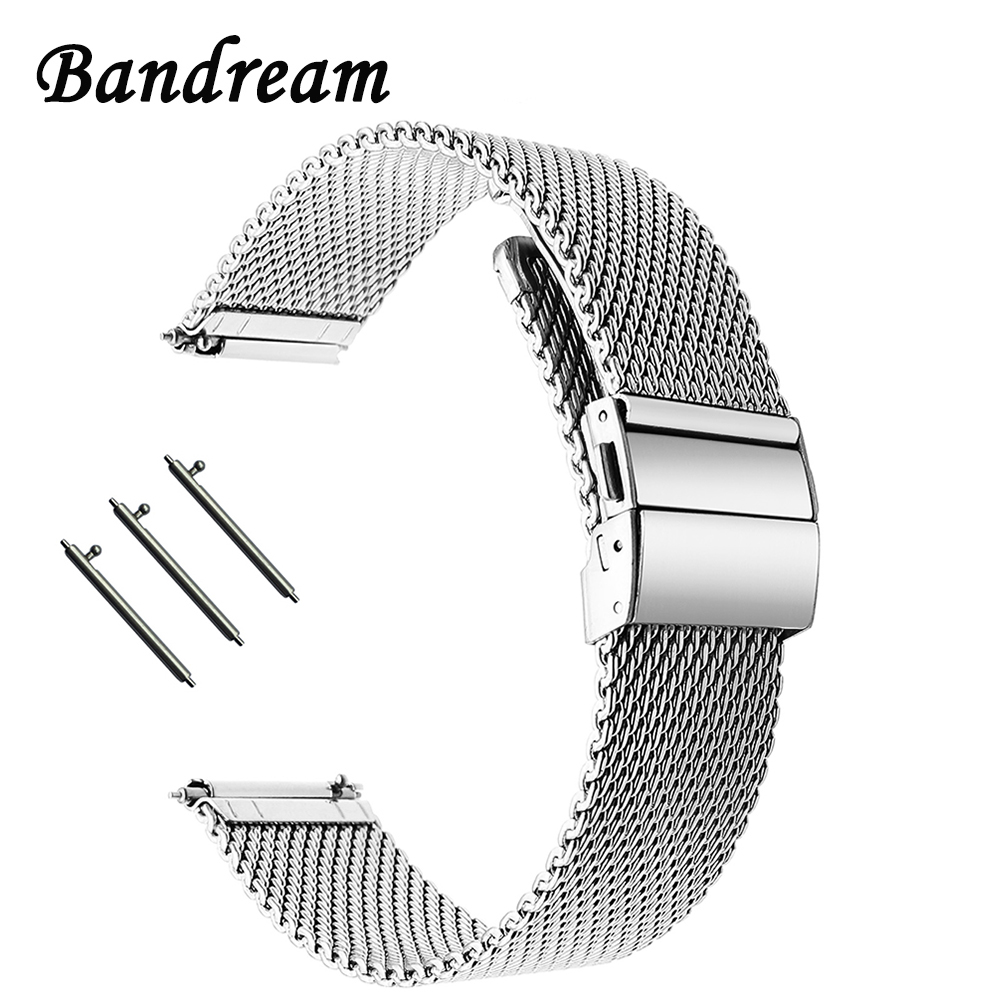 New Milanese Watchband Butterfly Buckle <font><b>Strap</b></font> for Tissot Longines Mido Hamilton Watch Band Stainless Steel Belt 18mm 20mm 22mm image