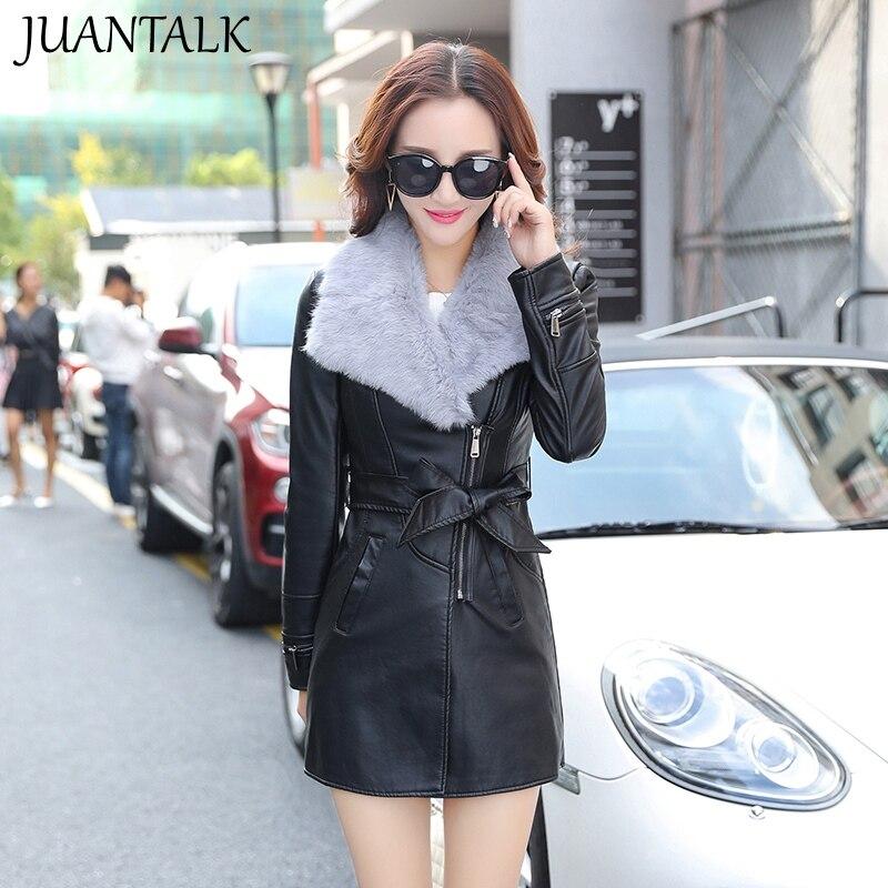 JUANTALK Autumn Winter Women PU Leather Jacket Medium-long slim Thickening Black Jacket Fur-neck Warm Coat Outwear