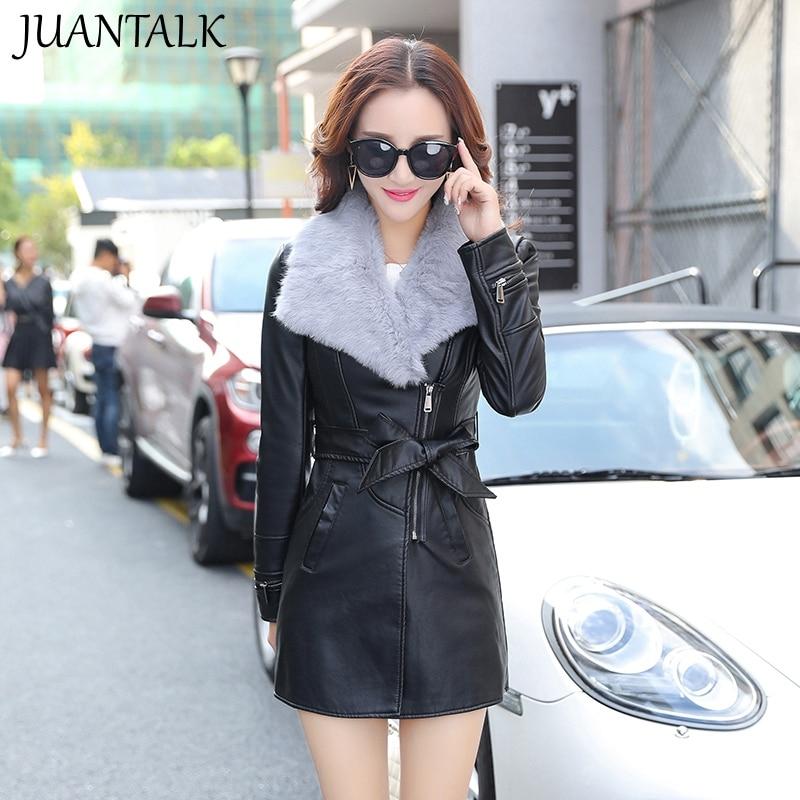 2016Autumn Winter PU Leather Women Clothing Medium Long Slim Plus Size Plus Velvet Thickening Rabbit Fur