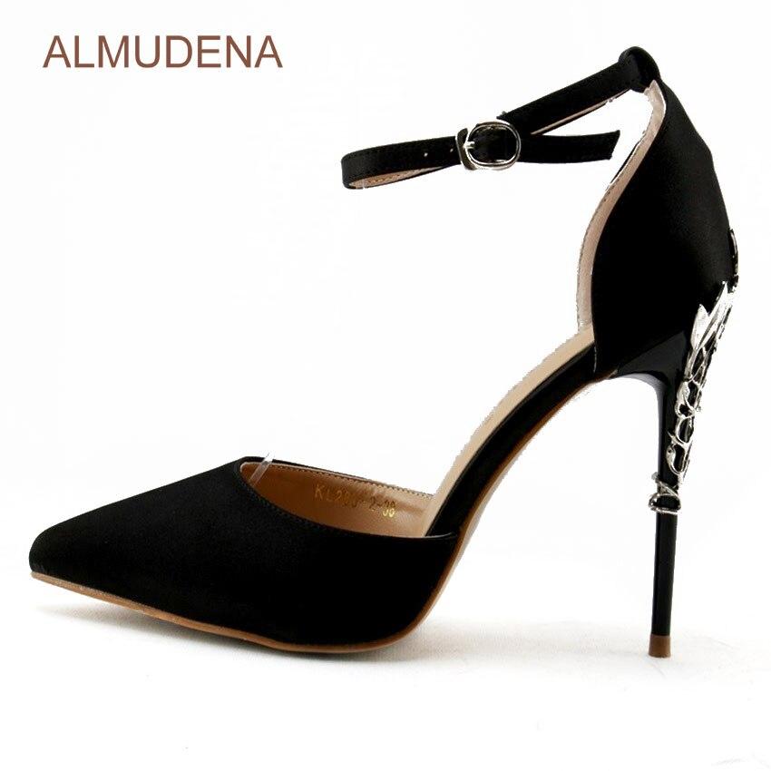 цена на ALMUDENA Silver Metal Branch Heel Pumps Black Satin Cloth Pointed Toe Shallow Cut Dress Shoes Stiletto Metal Heel Strap Shoes