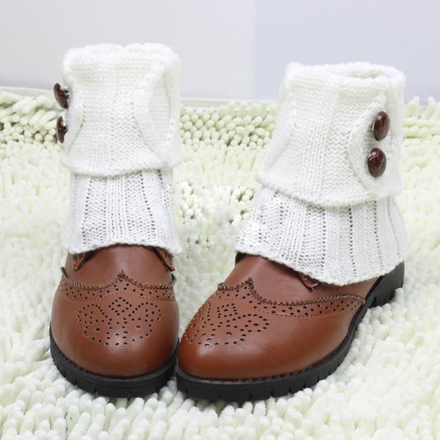 € 2.08 23% de DESCUENTO|9 colores de las mujeres de punto, bota corta puños botones Crochet calcetines de punto polainas calentadores de la pierna
