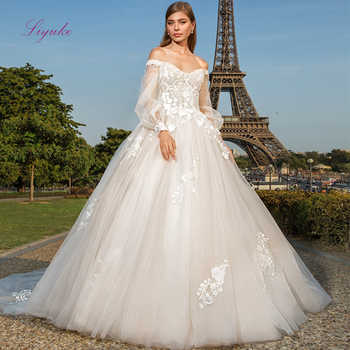 Liyuke 2019 Married Sweetheart Ball Gown Wedding Dress Long Lantern Sleeves Lace Appliques - DISCOUNT ITEM  25% OFF All Category