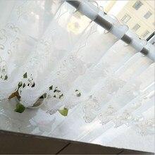 Juyang. Белые ажурные кофейные шторы с вышивкой. Короткая занавеска из полиэстера и шифона. Декоративные шторы. Шкаф со стеклянными дверями шторы
