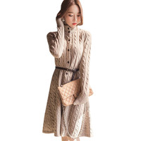 2018 Autumn Winter Warm Thick Sweater Dress Women Button Sashes Knitted Dresses Ladies Long Sleeve Pullovers Dress Vestidos A949