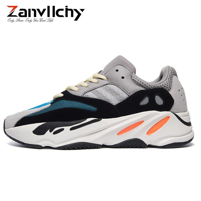 Zanvllchy 2019 Vintage Papa Hommes Chaussures Top Qualité Kanye West 700 Sneakers Respirant Lumière Mâle Chaussures de Sport Marque Hommes Formateurs