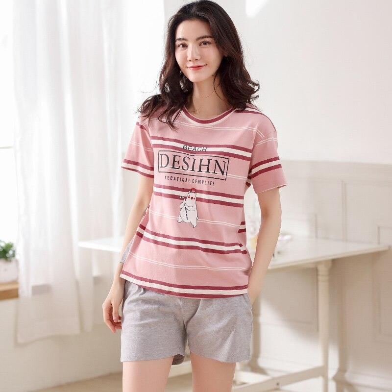 Cotton Pyjamas Women Cute Cartoon Pajama Set Women Sleepwear Summer Multicolor 2 Pices Girl Nightwear Big Yard M-XXL