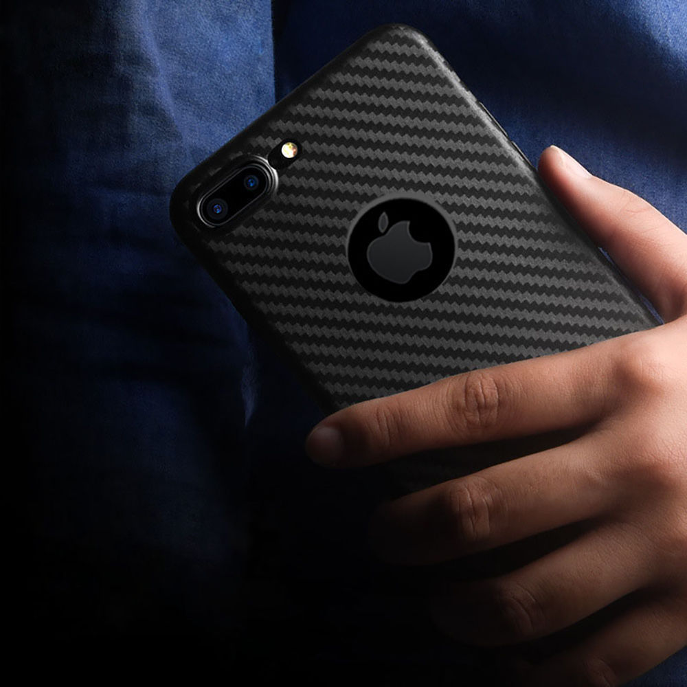 Case For iPhone 8 7 6 Plus X XR XS MAX Soft TPU Silicone Cover Carbon Fibre Skin Black Phone Skin in Fitted Cases from Cellphones Telecommunications