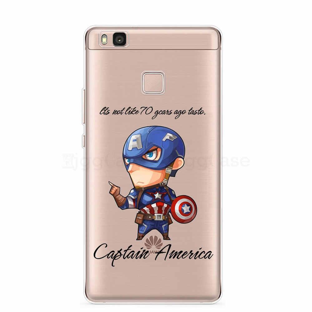 سبايدرمان بطل السوبر كابتن أمريكا المنتقمون لينة الهاتف حالة ل huawei P8 P9 P10 لايت 2017 P10 زائد P20 برو p20 لايت P الذكية