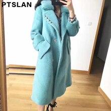 Ptslan Women Alpca Sheep Fur Coat Mink Fur Collar Fashion Women Wool Coat Long Sheep fur