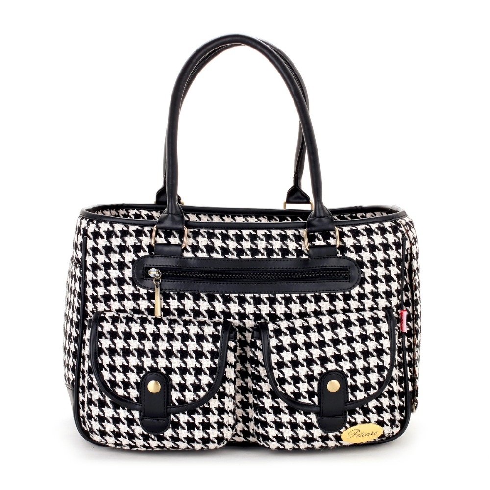 Black Houndstooth Pattern Coarse Grain Pet Dogs Carrier Bag Free Shipping Fashion Small Puppy Dogs Bag