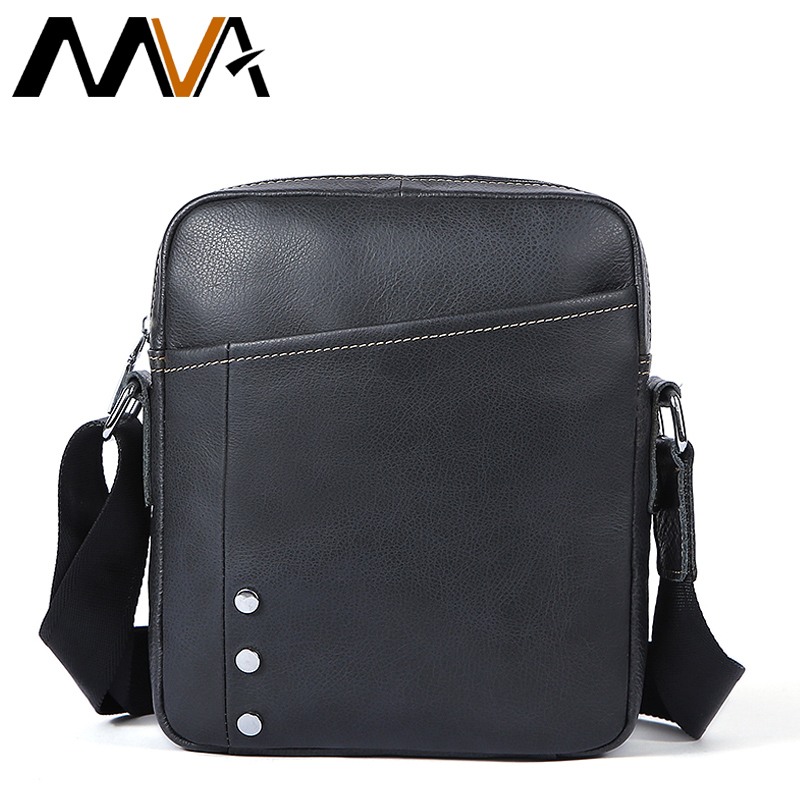 MVA Black Leather Shoulder Bag Male Genuine Leather Men Bags Casual Crossbody Bags Messenger Bag Men zipper Small Flap 8315 dongfang miracle high quality genuine leather men messenger bags casual shoulder bag male multifuntional small bag