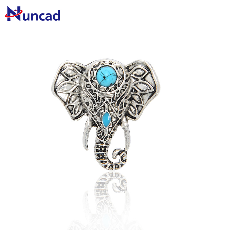 Anillos Finger-Rings Blue Stone Elephant Silver Antique Enamel Jewelry Gift Mujer