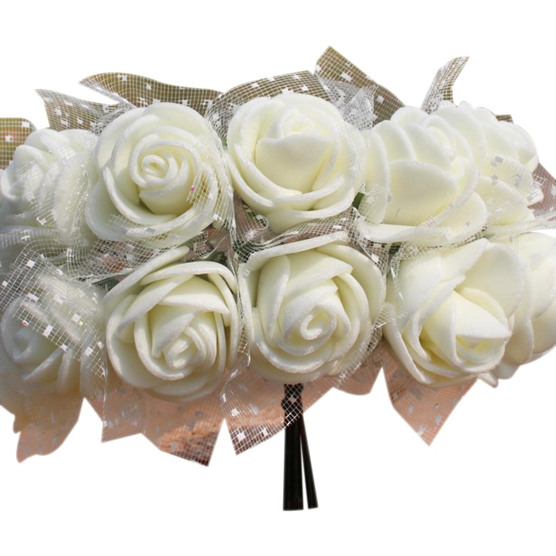 144 шт./лот 2 см DIY PE искусственные цветы Роуз Глава с сеткой свадебное домашние декоративные искусственные цветы букет аксессуары
