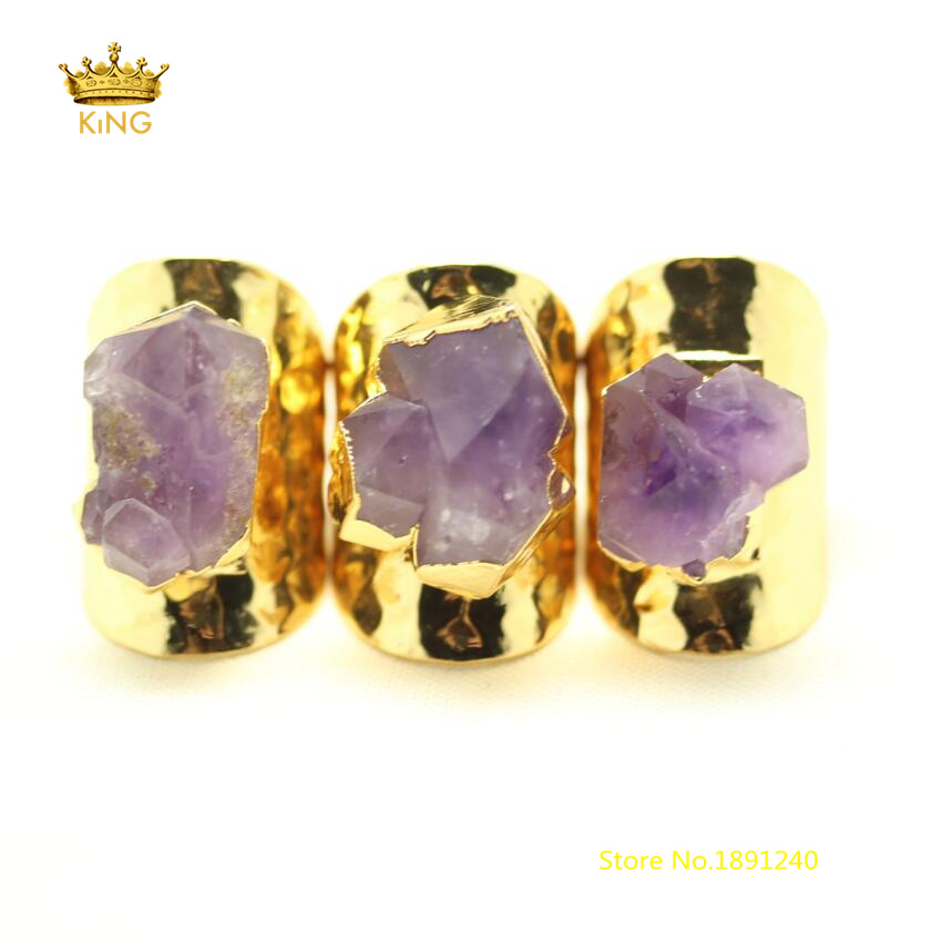 5pcs Natural Purple Quartz Flower <font><b>Rings</b></font> Jewelry,<font><b>Raw</b></font> <font><b>Crystals</b></font> Quartz <font><b>Rings</b></font> Plated Golden Copper Circle <font><b>Rings</b></font> Fashion Supply GH445 image