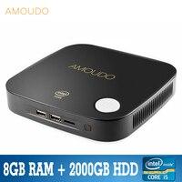 Amoudo intel core i5 4200U 8 Гб оперативной памяти + 2000 ГБ hdd windows 10 система Wi Fi bluetooth гигабитный сетевой i5 4 К мини настольных ПК