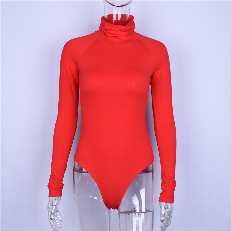 Hugcitar Cotton Long Sleeve High Neck Bodycon Sexy Fit Bodysuit Women 2019 Autumn Winter Red Solid Female Fashion Party Body