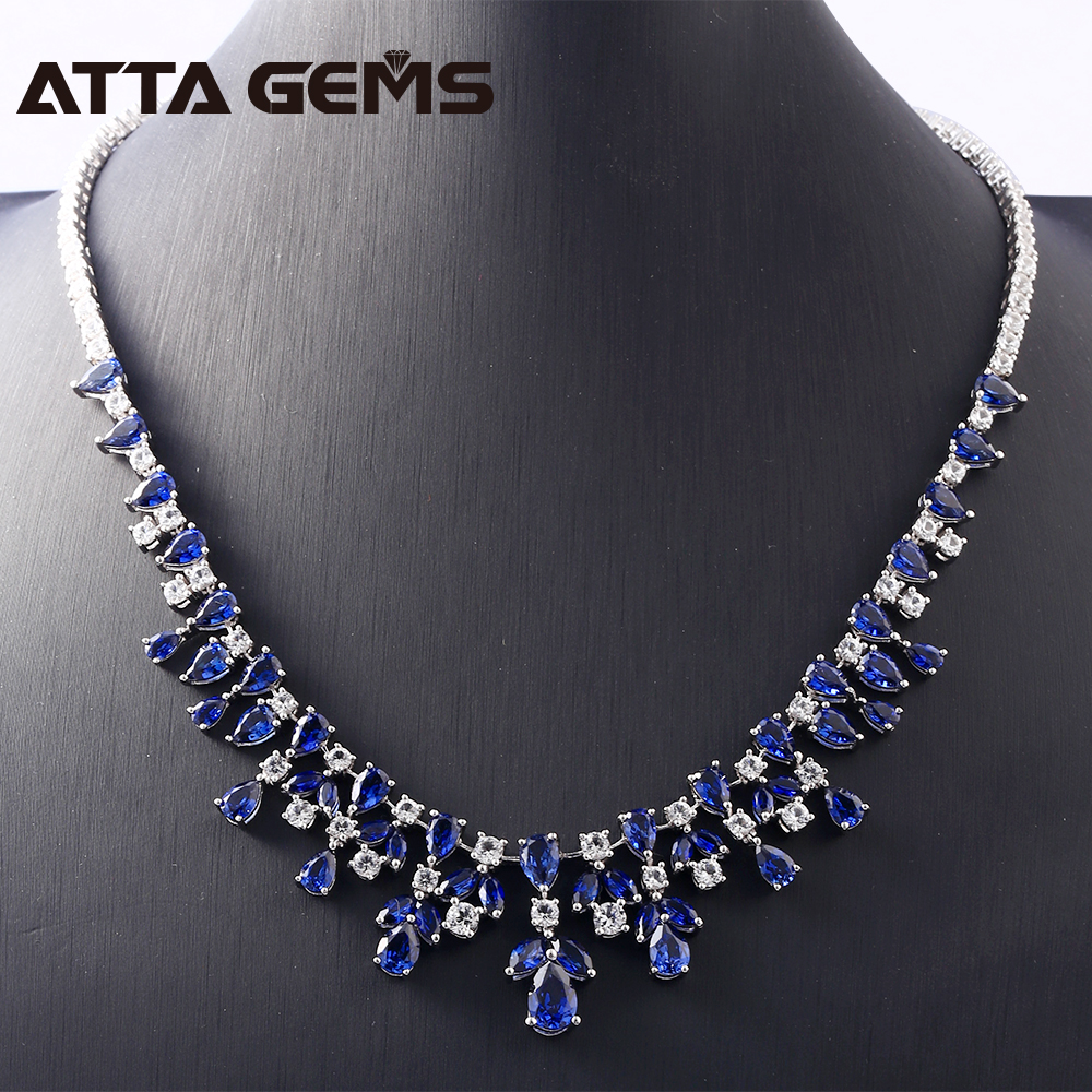 Blue Sapphire Sterling Silver Pendants for Women Wedding Engagement Luxury Necklace For Banquet Party Created Sapphire JewelryBlue Sapphire Sterling Silver Pendants for Women Wedding Engagement Luxury Necklace For Banquet Party Created Sapphire Jewelry
