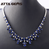 Blue Sapphire Sterling Silver Pendants for Women Wedding Engagement Classic Luxury Necklace For Banquet Party Princess Jewelry
