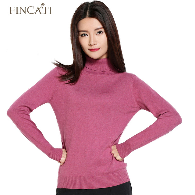 2016 Autumn Winter High Quality Turtleneck Women's Solid Color Knitwear Cashmere Woolen Thin Sweater Pulls Femme Tops Pullover