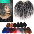 "Crochet Senegalese Braids Hair Marlybob 8"" 3pcs/lot naturally fabulous Crochet extensions Curly Ombre Short Crochet Twist hair"