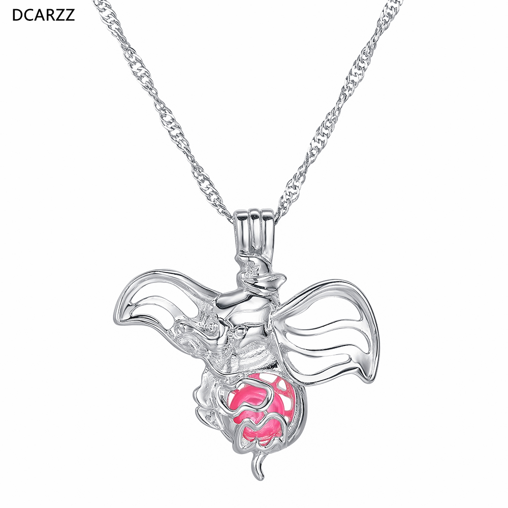Dumbo Cage Pendant Silver Necklace Vintage Charm baby Elephant Cartoon DIY Jewelry Women Pendants Pearl Beads