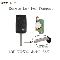 QWMEND 2pcs*433Mhz VA2 Blade Car Remote key For PEUGEOT 207 307 308 407 807 Expert Partner CC SW CE0523 model Car keys