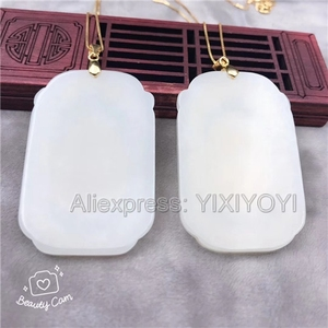 Image 2 - Natural White Hetian Jade + 18K Solid Gold Inlaid GuanYin Buddha Lucky Amulet Pendant + Free Necklace Fine Jewelry + Certificate