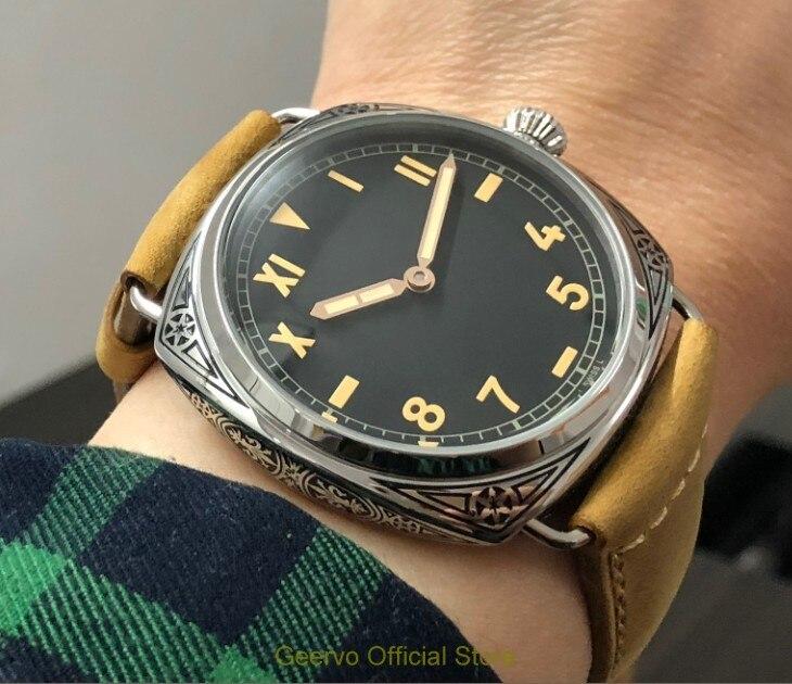 47mm geervo 아시아 6497 17 보석 기계식 손 바람 운동 조각 장식 패턴 케이스 기계식 시계 251a-에서기계식 시계부터 시계 의  그룹 1