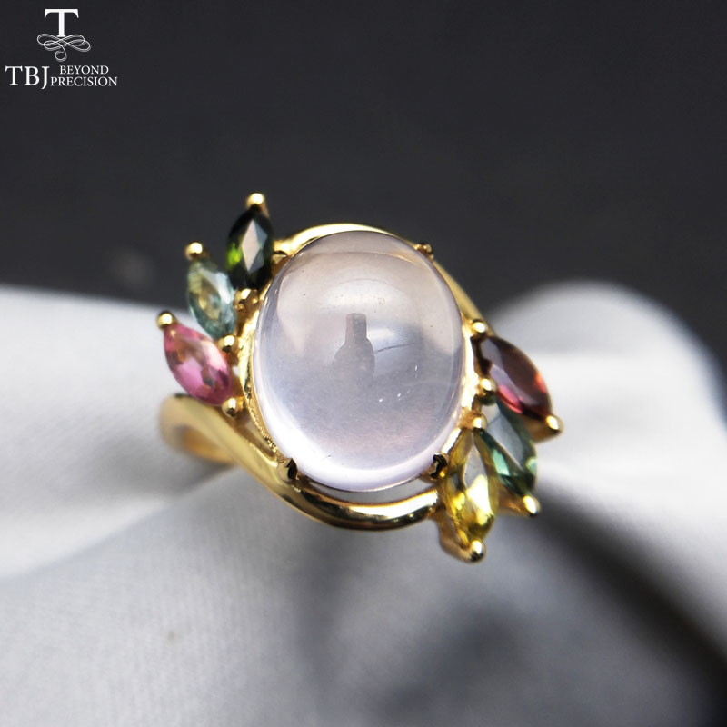 TBJ,Natural Ethiopian Rose quartz oval 10*12mm with  tourmaline gemstone Ring in 925 sterling silver for women with gift box-in Jewelry Sets from Jewelry & Accessories    3