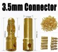 200pair 3.5mm Gold Banana Connector 3.5mm Banana Plug thick gold plated for ESC motor