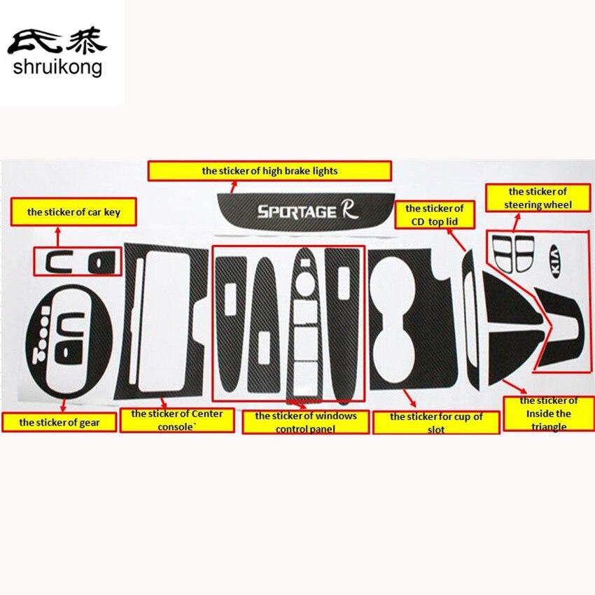 The Full Set Carbon Fiber Car Stickers For Car Interior Trim For KIA SportageR Sportage R