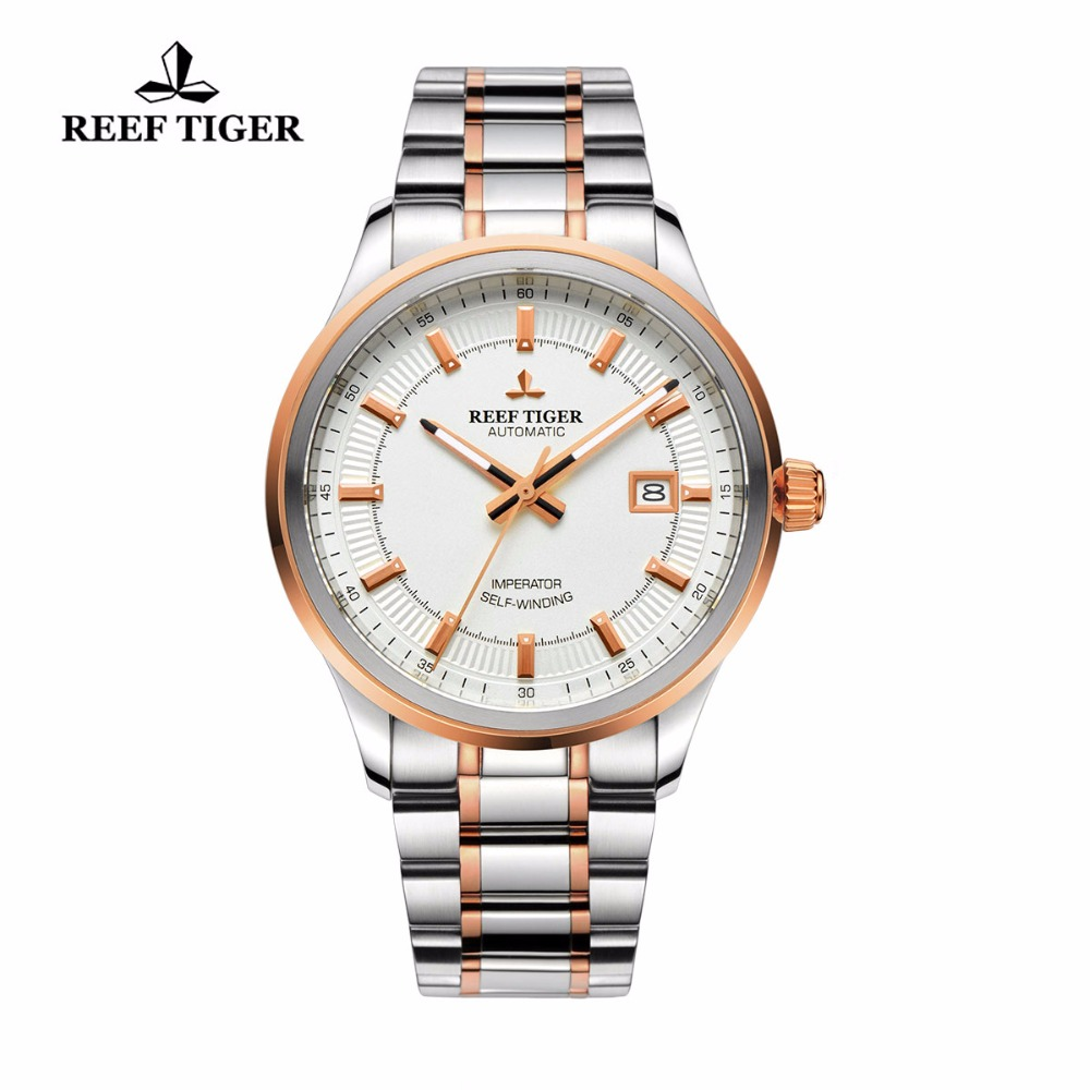 Reef Tiger / RT Zegarki Steel / Rose Gold Two Tone Business Dress Zegarek dla mężczyzn Miyota 9015 Super Luminous automatyczne zegarki RGA8015