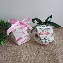2018New 50pcs/lot(5.5x5.5x6cm)Forest Style Wedding Candy Box Diamond Married Birthday Party Desktop Decoration Flamingo Gift