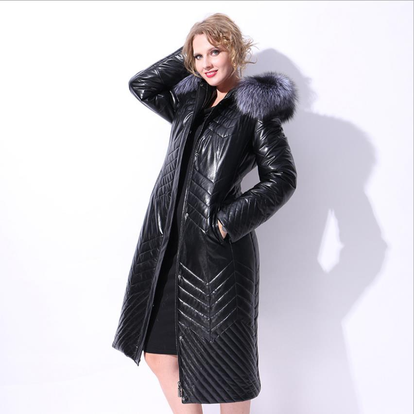Winter Plus size Real Goose   down     coat   fashion brand natural fox fur hooded goose   down   jacket women's thicker warm   coat   wq574