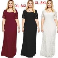 QMGOOD 8XL Large Size Lace Long Dress In The Floor Women's Autumn Dress Elegant Party Long Dress Plus Size Women Clothing 7XL 6X